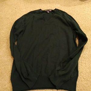 NWOT Men's Dark Green Cotton V-Neck Sweater